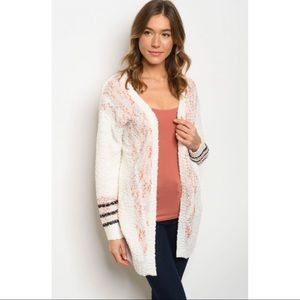 Ivory with Black Stripes and Pink PopCorn Cardigan